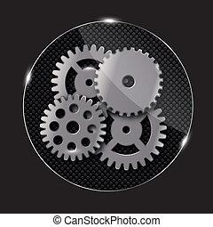 Repairing glass button, vector illustration