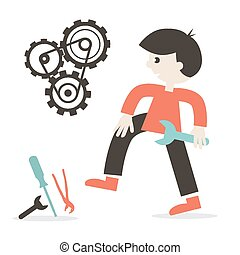 Repairing Icon with Man - Tools and Cogs