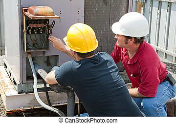 Repairing Industrial Air Conditioner - Two AC technicians...