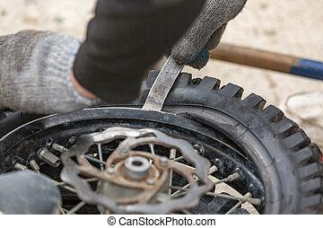 repairing motorcycle tire with repair kit, Tire plug repair ...