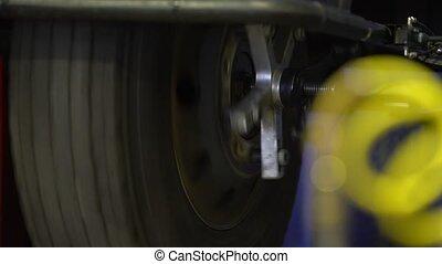 Repairing old wheel. Rolling wheel.