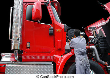 Repairing truck - Repair man fixing engine