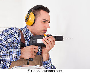 repairman, 操練, 洞, 在, 牆