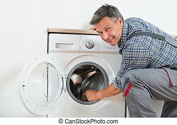 repairman, 檢查, 洗衣機, 在家