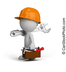 3d repairman is going to do their job. 3d image. White background.