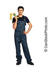 repairman, arab, 國籍, 在, the, 建設, 套衣, 上, a, 白色 背景, 由于, 反映