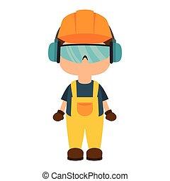 repairman character working with ear cap