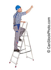 Repairman Climbing Step Ladder - Full length of mid adult...