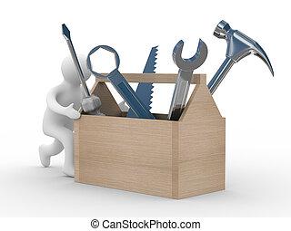 repairman, com, a, ferramenta, ligado, um, branca, experiência., 3d, imagem