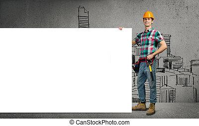 Repairman demonstrating banner