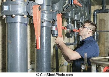 repairman engineer of fire engineering system or heating system