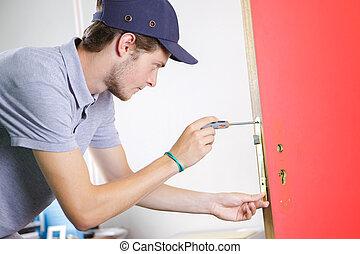 repairman, fixa, dörr hantera