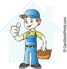 Repairman for home with a suitcase vector