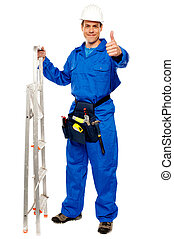Repairman holding ladder and showing thumbs up gesture...