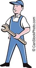 Repairman Holding Spanner Cartoon