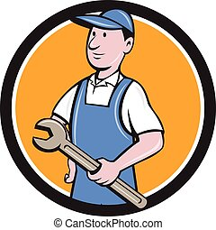 Repairman Holding Spanner Circle Cartoon