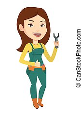 Repairman holding spanner vector illustration. - Young...