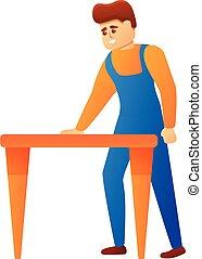 Repairman icon, cartoon style