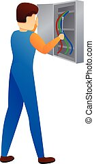 Repairman in electric box icon, cartoon style