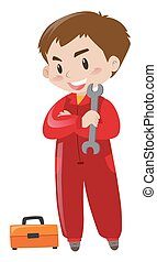 Repairman in red suit with tools