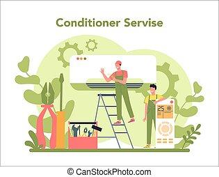 repairman, instalation, concept., nedvességtartalom szabályozás, szolgáltatás, levegő, rendbehozás