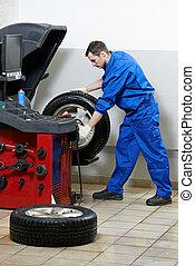 repairman mechanic at wheel balancing