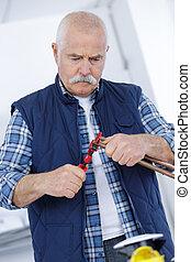 repairman, med, plattång