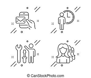 Repairman, Messenger mail and Waiting icons set. Women headhunting sign. Vector
