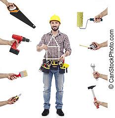 Repairman multi-tasking - Cheerful carpenter looking at...