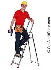 Repairman on a ladder