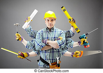 Repairman - Portrait of serious craftsman with different...
