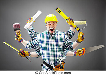 Repairman - Portrait of shouting craftsman with different ...