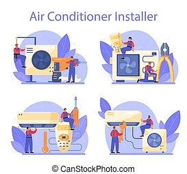 repairman, rendbehozás, szolgáltatás, instalation, set., nedvességtartalom szabályozás, levegő