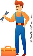 Repairman steel toolbox icon, cartoon style