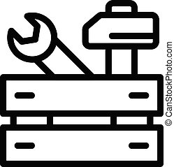 Repairman tool wood box icon, outline style