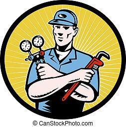 repairman tradesman - illustration of a repairman or air ...