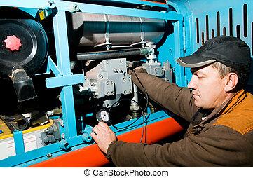 repairman using manometer - serviceman repairman measuring...