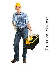 Repairman wearing hard hat - Confident repairman wearing...
