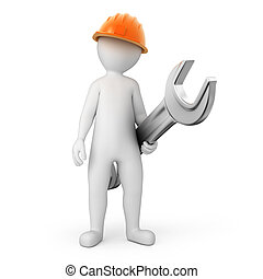 repairman with a spanner. image with a work path