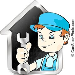 Repairman with a wrench and house symbol