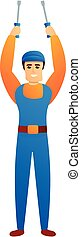 Repairman with screwdriver icon, cartoon style