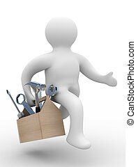 repairman with the tool on white background. 3D image