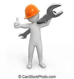 repairman with thumb up and a spanner on a shoulder. image...