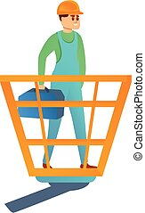 Repairman with toolbox icon, cartoon style