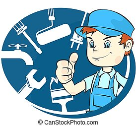 Repairman with tools - Repairman with tool illustration for...