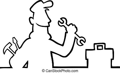 Repairman with tools - Black line art illustration of a...