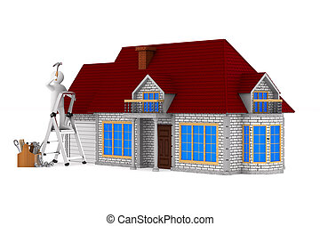 Repairman with wooden toolbox. Isolated 3D illustration