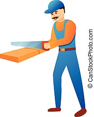 Repairman working with hand saw icon, cartoon style