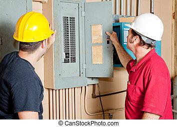 repairmen, megvizsgál, elektromos, bizottság