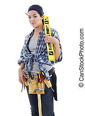 Repairwoman - Stock image of repairwoman isolated on white...
